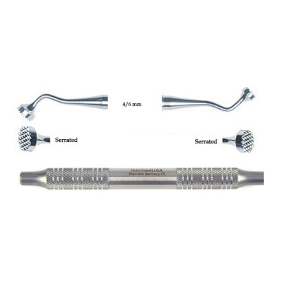 Implant Bone Packer, 4mm/6mm, Serrated